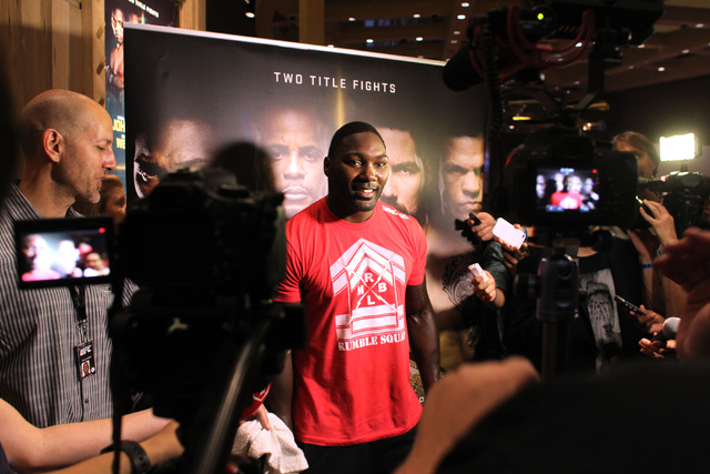 Anthony Johnson talks to the members of the media during the media work out for UFC 187 Wednesday, May 20, 2015 at the MGM. (Sam Morris/Las Vegas Review-Journal) Follow Sam Morris on Twitter @samm ...