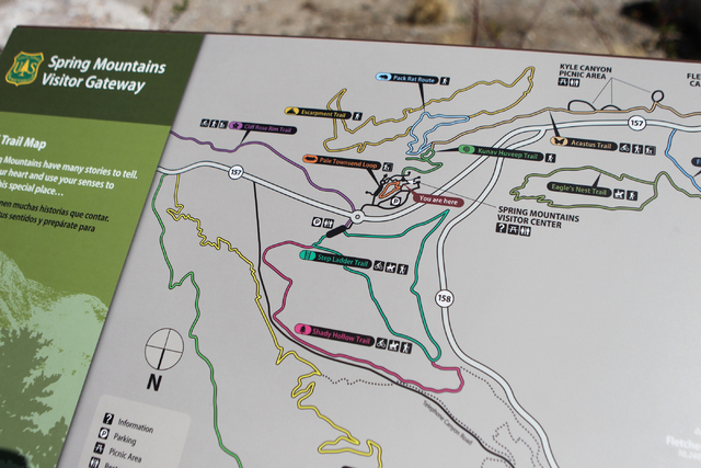 A trail map is seen at the Spring Mountains Visitor Gateway on Kyle Canyon Road in Las Vegas on Wednesday, May 27, 2015. (Erik Verduzco/Las Vegas Review-Journal) Follow Erik Verduzco on Twitter @E ...