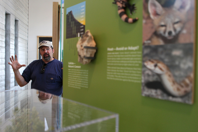 John Harris, project manager for the Spring Mountains Visitor Gateway, gives a tour of the visitor center inside the Spring Mountains Visitor Gateway on Kyle Canyon Road in Las Vegas on Wednesday, ...