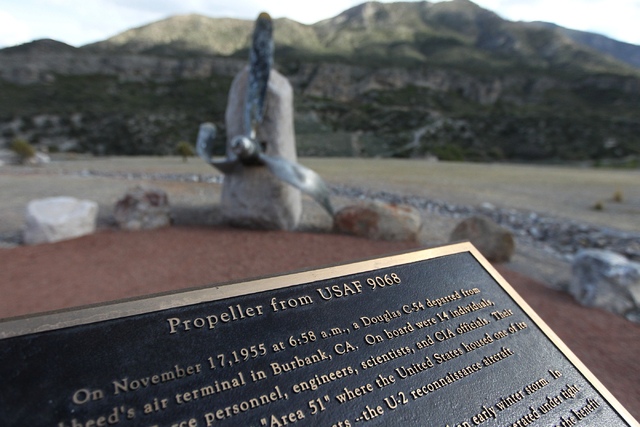 A Cold War memorial designed with the USAF 9068 propeller that crash at Mount Charleston during a secret flight to Area 51 is seen at the Spring Mountains Visitor Gateway on Kyle Canyon Road in La ...