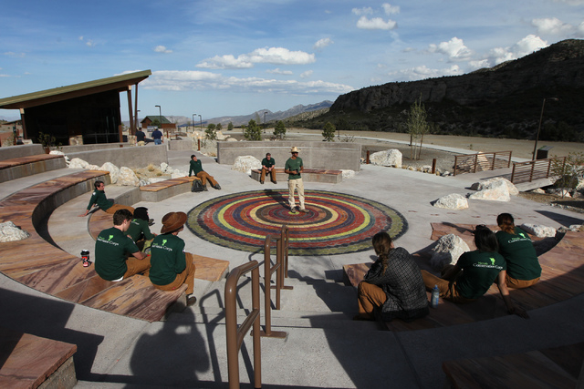Visitors gather for a meeting at an amphitheater at the Spring Mountains Visitor Gateway on Kyle Canyon Road in Las Vegas on Wednesday, May 27, 2015. (Erik Verduzco/Las Vegas Review-Journal) Follo ...