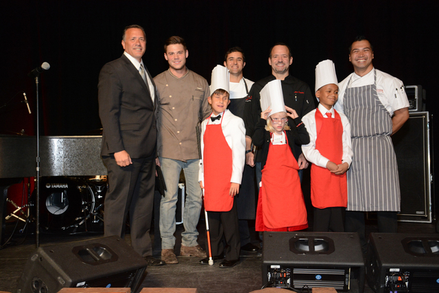 """Nevada Blind Children's Foundation """"What's Cooking?"""" Chefs on stage with celebrity chefs Scott Commings of Gordon Ramsay's Pub and Alex Stratta of Tapas by Alex Stratta on stage the sixt ..."""