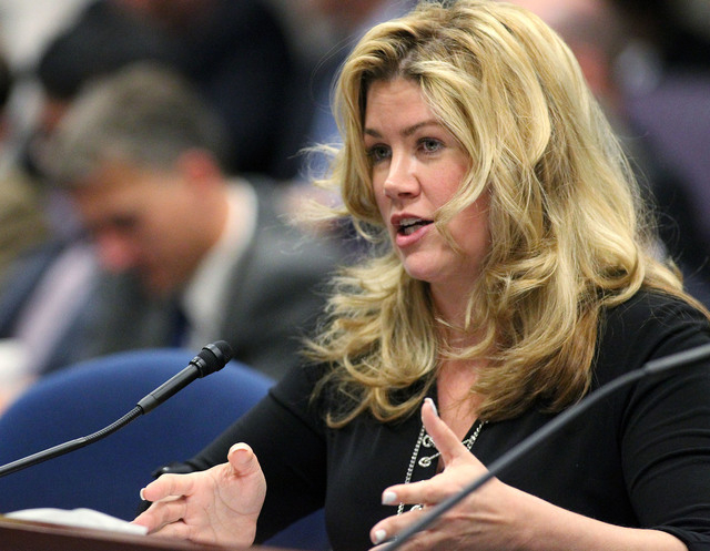 Nevada Sen. Patricia Farley, R-Las Vegas, testifies in a committee hearing at the Legislative Building in Carson City, Nev., on Wednesday, May 20, 2015. Farley urged lawmakers to support a measure ...
