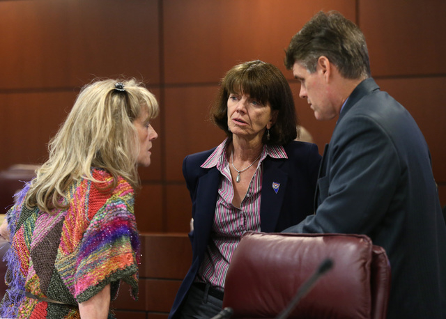 Nevada Assembly Republicans, from left, Jill Dickman, Robin Titus and Chris Edwards talk before the start of an Assembly Ways and Means committee hearing at the Legislative Building in Carson City ...