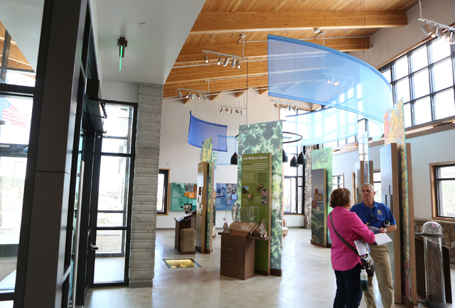 Exhibits are shown inside the visitor center at Spring Mountains Visitor Gateway Friday, May 30, 2015, in Kyle Canyon near Las Vegas. The new 128-acre complex is located on Route 157 and is about  ...