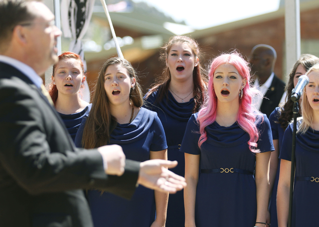 "Cheyenne High School Madrigals sing ""America the Beautiful"" during a grand opening ceremony at Spring Mountains Visitor Gateway Friday, May 30, 2015, in Kyle Canyon near Las Vegas. The n ..."