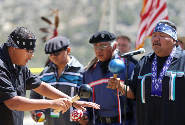 Bird singers Albert Harper, from left, Andrew Anderson, Kenny Anderson and Larry Hammond perform during a grand opening ceremony at Spring Mountains Visitor Gateway Friday, May 30, 2015, in Kyle C ...
