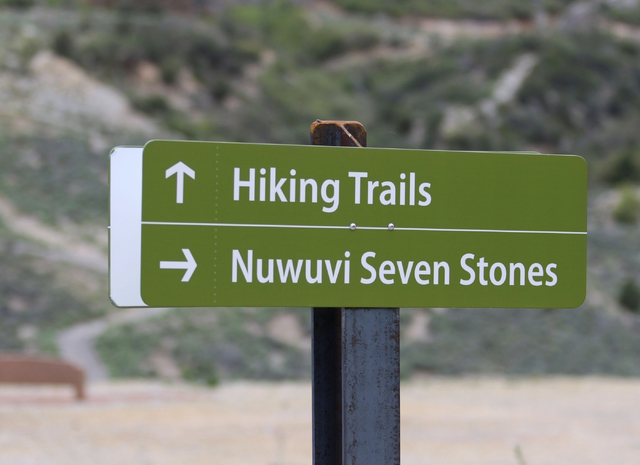 A sign is shown at Spring Mountains Visitor Gateway Friday, May 30, 2015, in Kyle Canyon near Las Vegas. The new 128-acre complex is located on Route 157 and is about 35 miles northwest of the Str ...