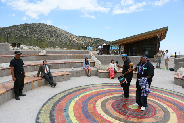 Bird singers Larry Hammond, from right, and Albert Harper perform in the amphitheater at Spring Mountains Visitor Gateway Friday, May 30, 2015, in Kyle Canyon near Las Vegas. The new 128-acre comp ...