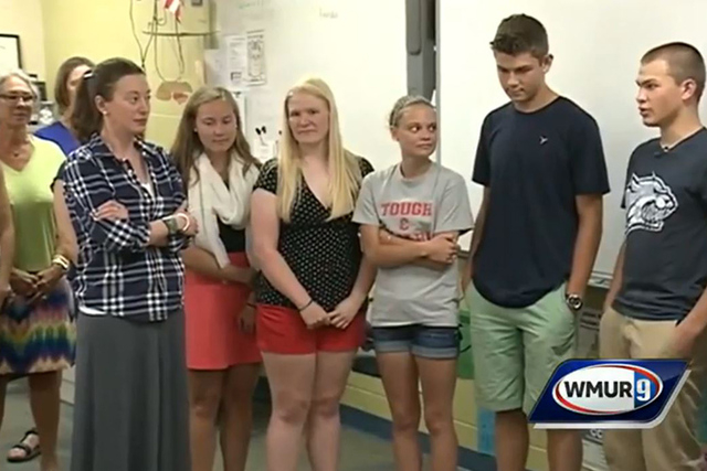 Principal Courtney Vashaw at Profile High School in New Hampshire is told by the senior class that they were giving her the $8,000 earned for their senior trip to help with her medical bills. (Scr ...