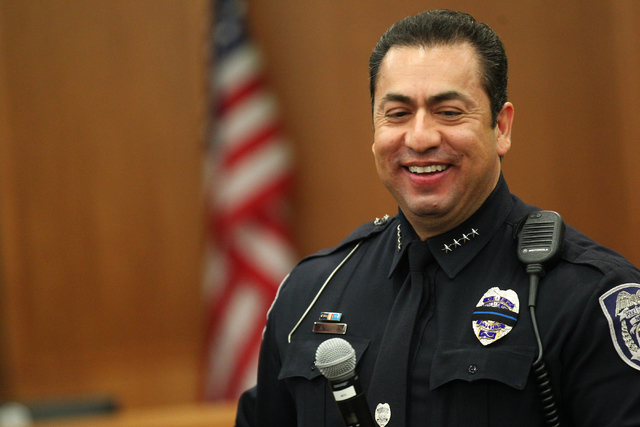North Las Vegas Police Chief Alex Perez is seen during his swearing-in ceremony at a city council meeting at North Las Vegas City Hall on Wednesday, May 20, 2015. (Chase Stevens/Las Vegas Review-J ...