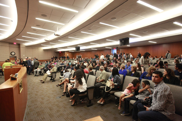 People file in for a a city council meeting at North Las Vegas City Hall on Wednesday, May 20, 2015. (Chase Stevens/Las Vegas Review-Journal) Follow Chase Stevens on Twitter @csstevensphoto