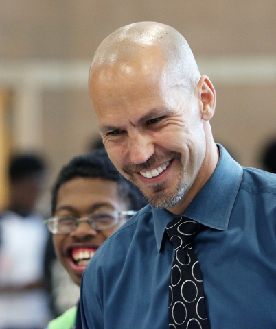 Principal Antonio Rael laughs with students while supervising a lunch period at Mojave High School May 18, 2015, in North Las Vegas. (Ronda Churchill/View)