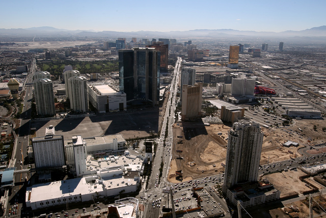 This is a view of the north end of the Strip looking south from the Stratosphere Tower Friday, Feb. 6, 2015. (Sam Morris/Las Vegas Review-Journal)