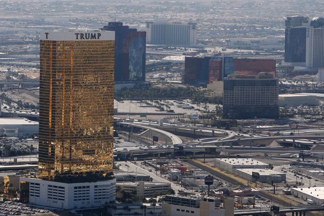 Properties located to the west of the Strip, from left, Trump International, the Rio, the Orleans, Wyndham and the Palms, are see from the Stratosphere Tower Friday, Feb. 6, 2015. (Sam Morris/Las  ...