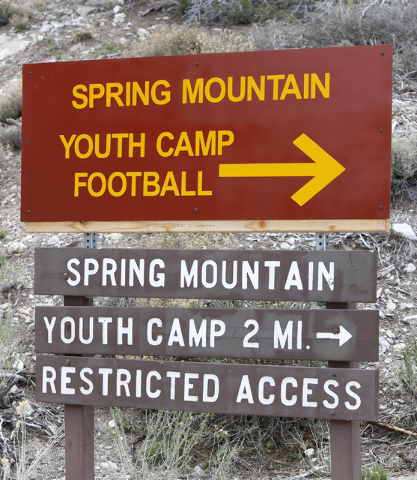 The Spring Mountain Youth Camp sign is seen on Wednesday, April 22, 2015. Professional boxers and boxing referees visited the camp, where young men ages 12 to 18 are working to turn their lives ar ...