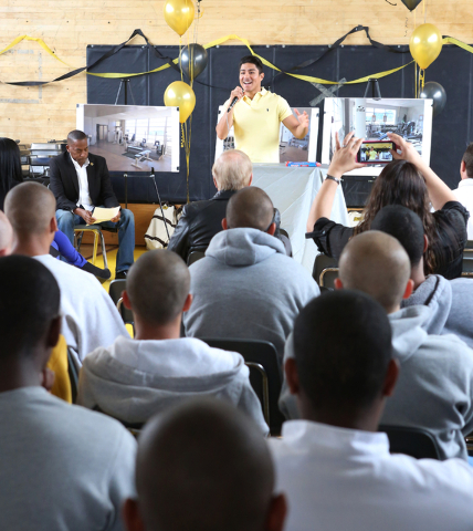 Boxer Jessie Vargas speaks to youth at the Spring Mountain Youth Camp Wednesday, April 22, 2015.  Professional boxers and boxing referees visited the camp, where young men ages 12 to 18 are workin ...