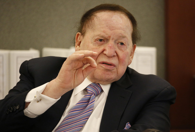 Las Vegas Sands Corp. Chairman and CEO Sheldon Adelson testifies in court Monday, May 4, 2015, in Las Vegas.  (Pool photo/AP/John Locher)