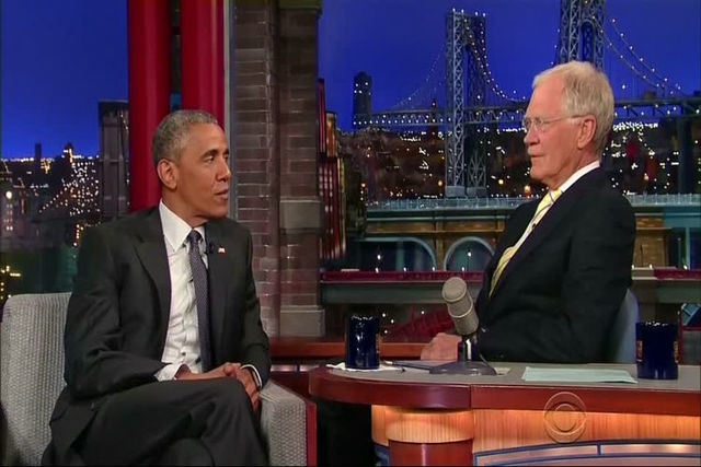 """Pres. Barack Obama stopped by the set of the """"Late Show with David Letterman"""" Monday night, for his eighth and what is expected to be his final guest appearance. (Late Show with David Letterma ..."""