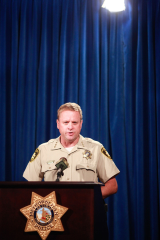 Undersheriff Kevin McMahill addresses news media about an officer-involved shooting that took place April 29, at Las Vegas police headquarters on Tuesday, May 5, 2015. (Chase Stevens/Las Vegas Rev ...