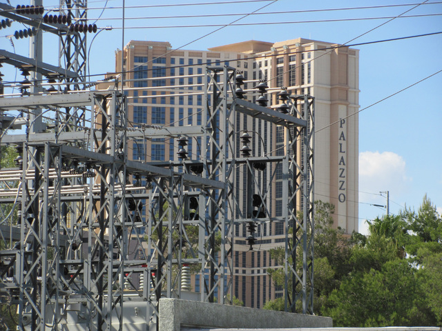 The Flamingo Substation, a Nevada Energy facility at the northeast corner of Flamingo Road and Koval Lane, is shown in the foreground with the Palazzo hotel and casino in this Sunday, April 19, 20 ...