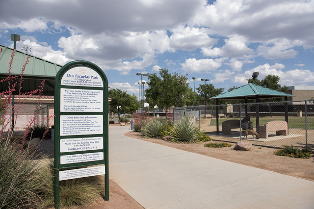 Dos Escuelas Dog Park is shown at 1 Golden View St. in Henderson on Tuesday, May 19, 2015. (Martin S. Fuentes/Las Vegas Review-Journal)