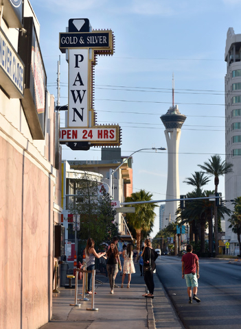 The Gold & Silver Pawn shop is seen at 713 Las Vegas Blvd. South on Tuesday, May 19, 2015. (David Becker/Las Vegas Review-Journal)