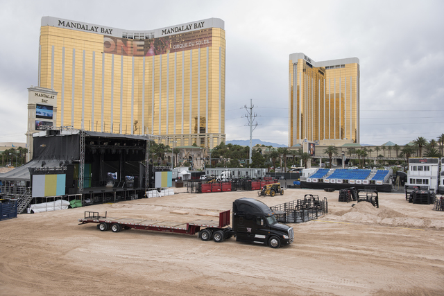 The site of the Professional Bull Riding event Last Cowboy Standing is prepared for May 22nd-24th at the Mandalay Bay events center in Las Vegas on Wednesday, May 20, 2015. (Martin S. Fuentes/Las  ...