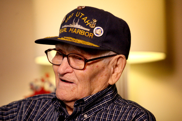 At a gathering of Pearl Harbor Survivors in Las Vegas, William Everett Hughes, 93, tells how he first believed his ship, the U.S.S. Utah, had been accidentally rammed by another U.S. ship during t ...