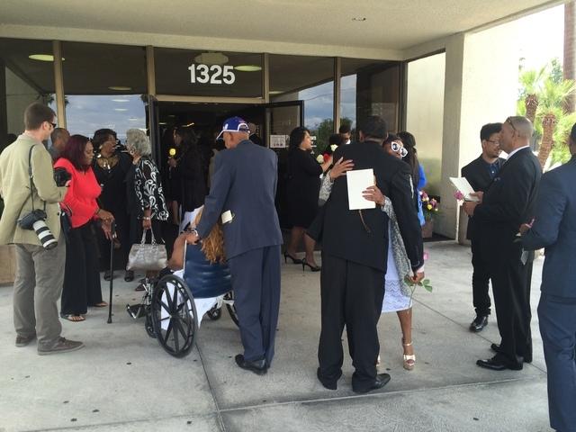 People leave B.B. King's funeral service on Saturday, May 23, 2015, at Palm Mortuary Downtown in Las Vegas. (Bizuayehu Tesfaye/Las Vegas Review-Journal) Follow Bizu Tesfaye on Twitter @bizutesfaye