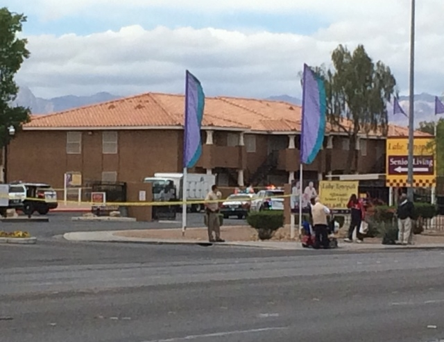 Officers responded to a barricade situation on May 8, 2015, at the Lake Tonopah Apartments in the 2100 block of Citrus Hills. (Bizu Tesfaye/Las Vegas Review-Journal)