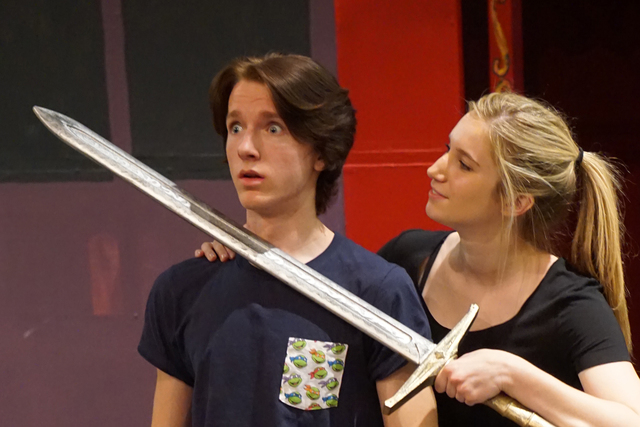 "Jackson Langford as Pippin, left, and Brooke Solan rehearse the song ""Glory"" April 28, 2015, as the Faith Conservatory of the Fine Arts prepares to present ""Pippin"" through May 17. (Special to ..."