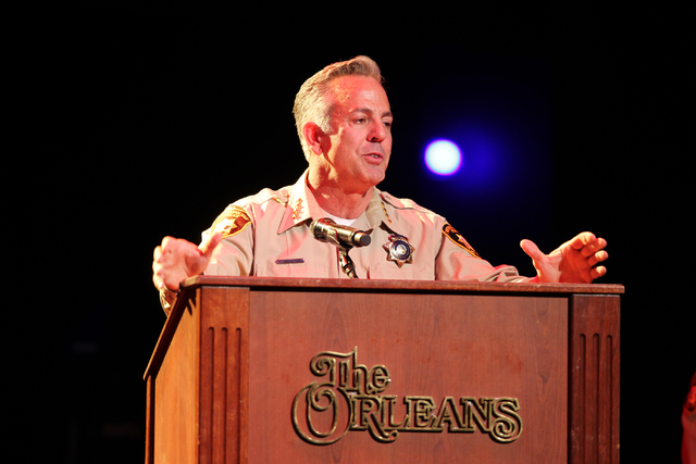 Clark County Sheriff Joe Lombardo speaks during the Las Vegas Metropolitan Police Department graduation ceremony for the class of 11-2014 at the Orleans casino-hotel in Las Vegas Wednesday, May, 2 ...