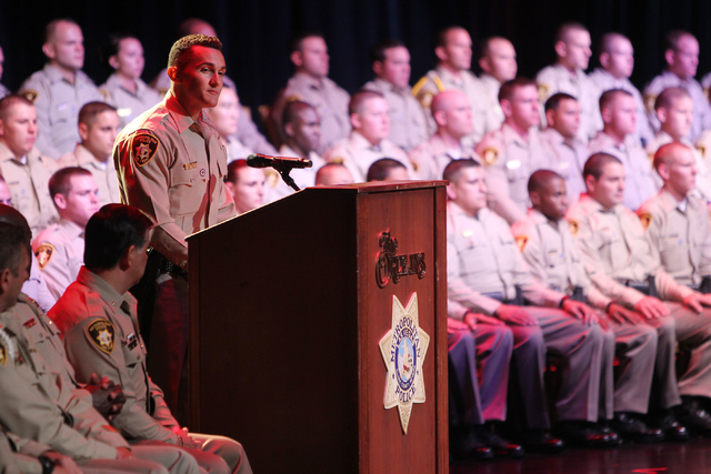Class speaker Isaiah Simmons speaks during the Las Vegas Metropolitan Police Department graduation ceremony for the class of 11-2014 at the Orleans casino-hotel in Las Vegas Wednesday, May, 2015.  ...