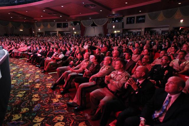Spectators listen during the Las Vegas Metropolitan Police Department graduation ceremony for the class of 11-2014 at the Orleans casino-hotel in Las Vegas Wednesday, May, 2015. (Erik Verduzco/Las ...