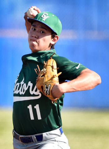 Green Valley pitcher Blake Inouye fires the ball against Basic during a high school baseball game at Basic High School on Monday, March 23, 2015, in Henderson. Basic won 6-3. (David Becker/Las Veg ...