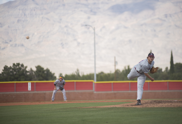 Desert Oasis A.J. Landis (15) pitches against Arbor View during their baseball game at Arbor View High School in Las Vegas on Wednesday, April 22, 2015. (Martin S. Fuentes/Las Vegas Review-Journal)