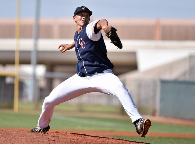 Coronado High School pitcher Adam Garcia delivers the ball against Silverado during a first round game in the Sunrise Region baseball tournament  at Silverado High School on Tuesday, May 5, 2015,  ...