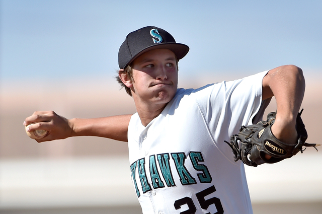 Silverado pitcher Jordan Thomson delivers the ball against Coronado during a first round game in the Sunrise Region baseball tournament at Silverado High School on Tuesday, May 5, 2015, in Henders ...