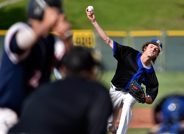 Basic pitcher Ryne Nelson fires the ball during a high school baseball game against Coronado at Las Vegas High School on Friday, May 8, 2015, in Las Vegas. Coronado won, 5-1. (David Becker/Las Veg ...