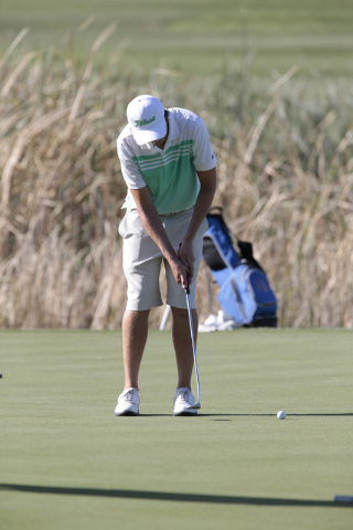 Palo Verde High School's Jack Trent, makes a put during the final round of the Division I Sunrise and Sunset region boys golf tournament at Reflection Bay Golf Club, Lake Las Vegas, 75 Montelago B ...