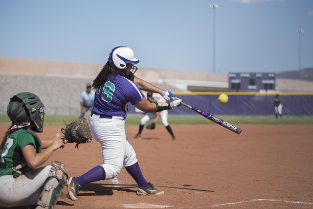 Silverado's Alessandra Ponce (99) swings at a pitch against Rancho during the first round game of the Sunrise Regional tournament played at Silverado's softball field in Las Vegas on Tuesday, May  ...