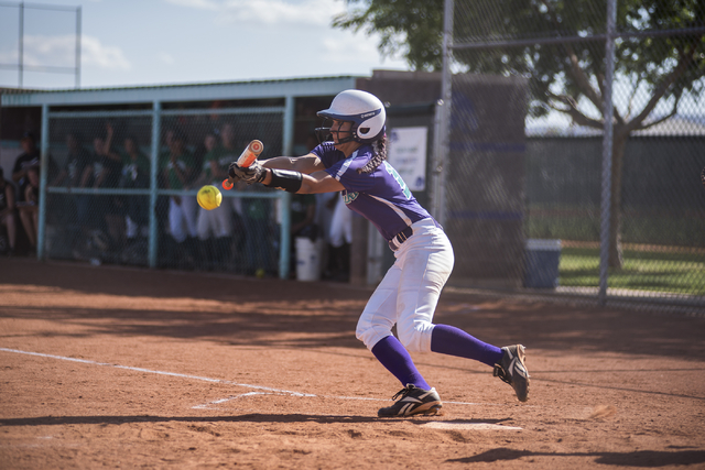 Silverado's Hanna McCall (10) throws down a bunt against Rancho during the first round game of the Sunrise Regional tournament played at Silverado's softball field in Las Vegas on Tuesday, May 5,  ...