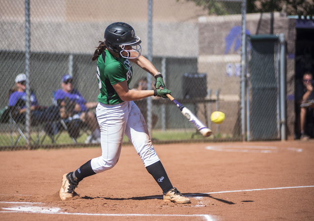 Rancho's Gianna Carosone (66) swings at a pitch against Silverado during the first round game of the Sunrise Regional tournament played at Silverado's softball field in Las Vegas on Tuesday, May 5 ...