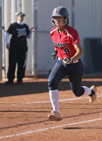 Coronado's Basia Query runs home during a softball game against Rancho at Coronado High School Wednesday, April 8, 2015, in Henderson. Coronado won 3-2. (Ronda Churchill/Las Vegas Review-Journal)