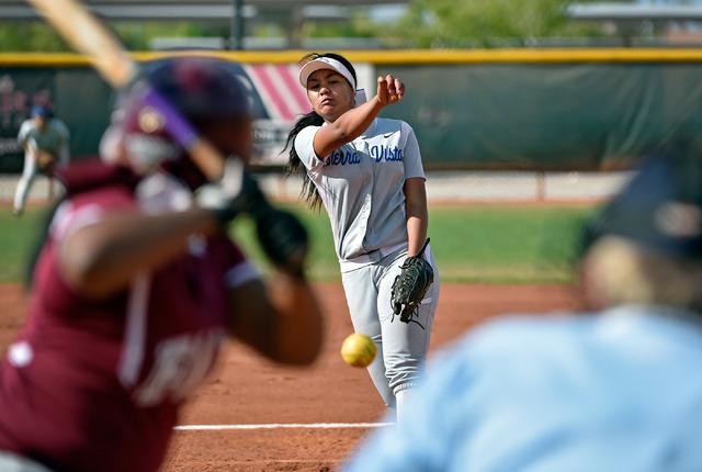 Sierra Vista pitcher Kalei Watkins delivers a pitch against Faith Lutheran during a high school softball game at Faith Lutheran High School on Monday, April 20, 2015, in Las Vegas.  (David Becker/ ...