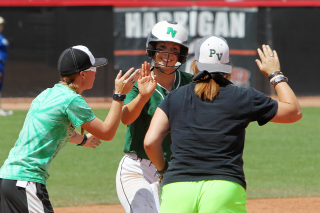 Palo Verde's Kali Tomlinson is congratulated for her home run during their Division I championship softball game against Reed Saturday, May 16, 2015, at UNLV. Reed won the game 3-2. (Sam Morris/La ...