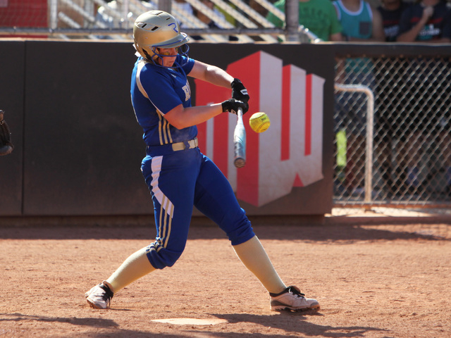 Reed's Mackenzie Howren connects with her game winning hit against Palo Verde during their Division I championship softball game Saturday, May 16, 2015, at UNLV. Reed won the game 3-2. (Sam Morris ...