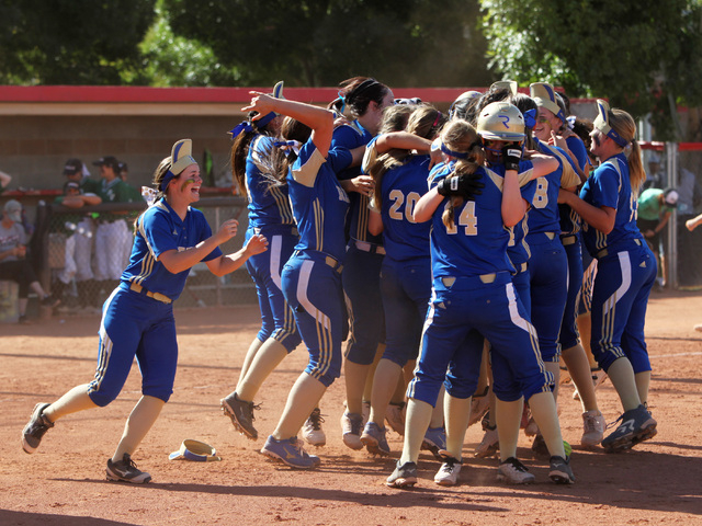 Reed players celebrate their win over Palo Verde after their Division I championship softball game Saturday, May 16, 2015, at UNLV. Reed won the game 3-2. (Sam Morris/Las Vegas Review-Journal) Fol ...