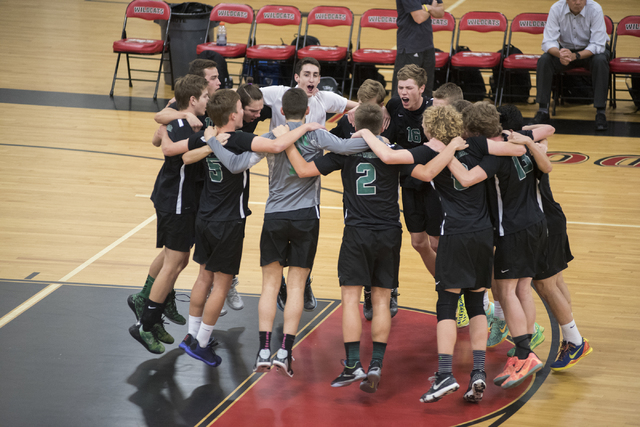 Palo Verde gets ready for their Division I state volleyball final against Legacy inside the Las Vegas High School gym in Las Vegas on Wednesday, May 13, 2015. Palo Verde won 3-0. (Martin S. Fuente ...